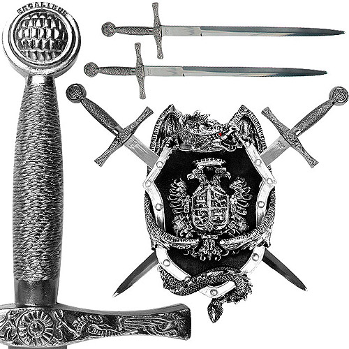 Sword Set with Dragon Display Plaque, 14""