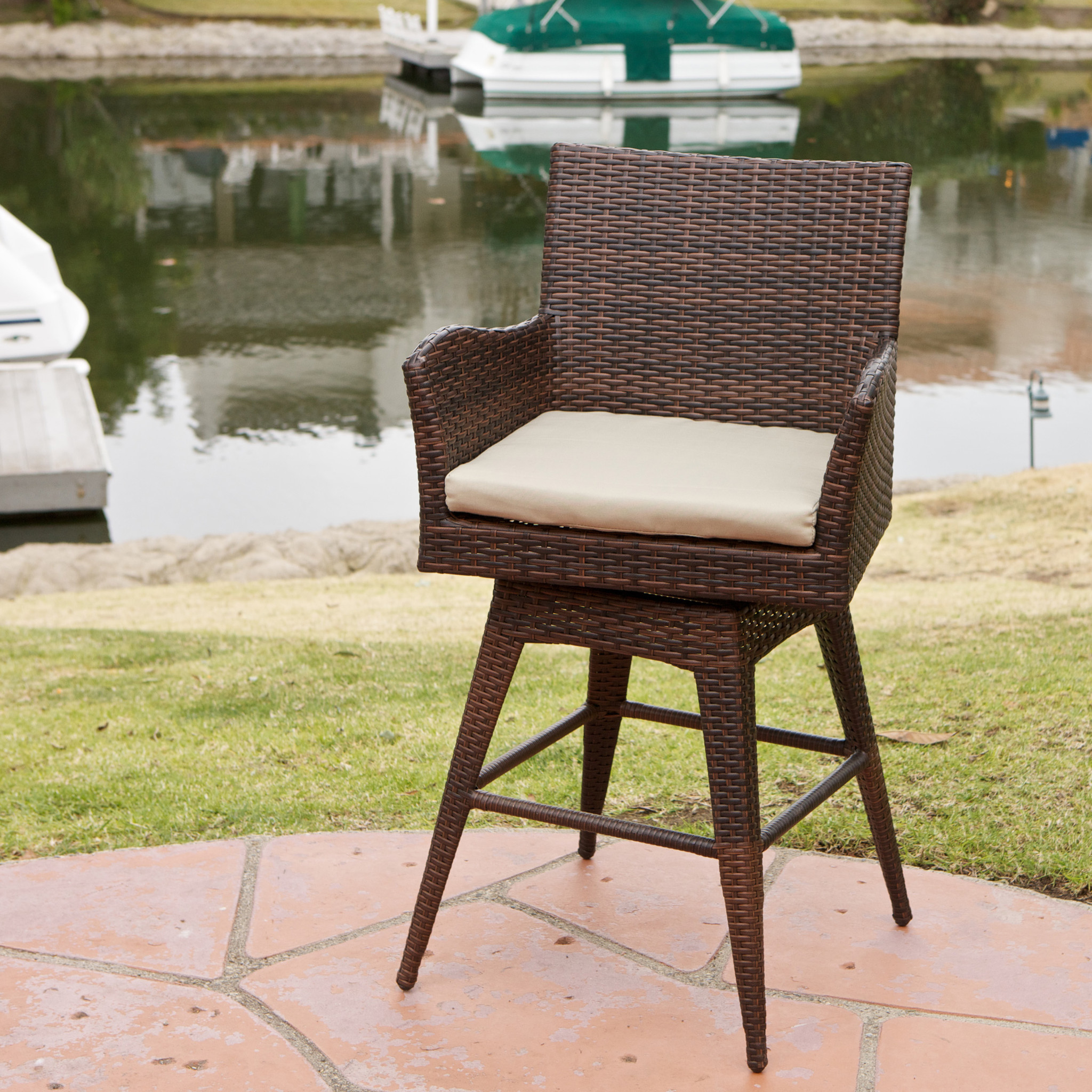 DeSoto PE Swivel Armed Barstool