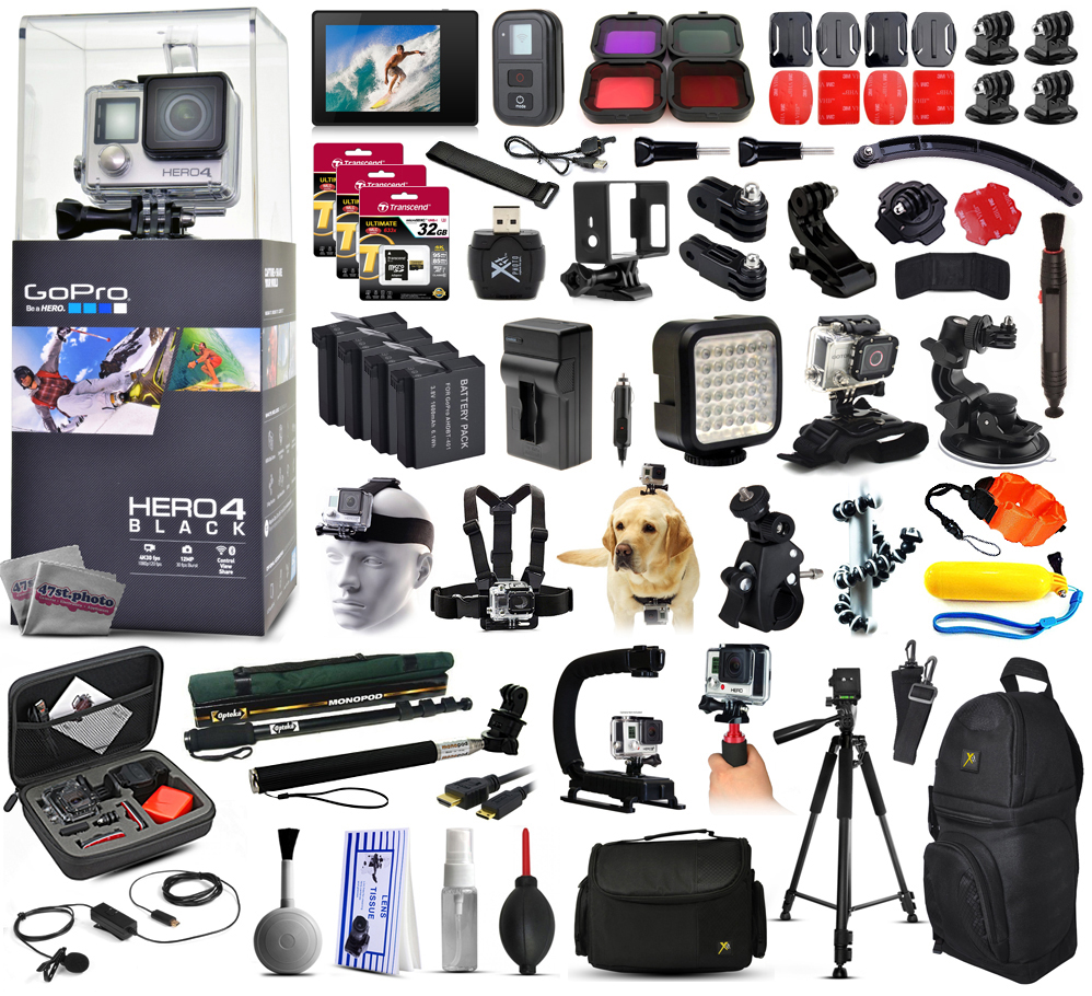 GoPro Hero 4 HERO4 Black Edition CHDHX-401 with 160GB Memory + LCD Display + Filters + 4 Batteries + Skeleton Housing + Microphone + X-Grip + LED Light + Car Mount + Travel Case + Selfie Stick + More