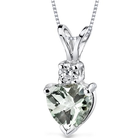 Peora 0.75 Carat T.G.W. Heart-Cut Green Amethyst and Diamond Accent 14kt White Gold Pendant, 18