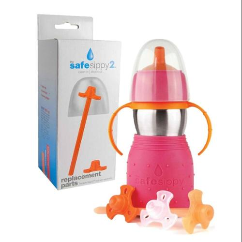 The Safe Sippy 2 2-in-1 Sippy to Straw Bottle with Replacement Parts, Pink