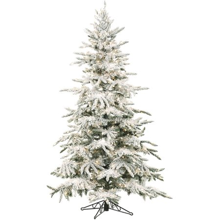 Fraser Hill Farm Unlit 9' Flocked Mountain Pine Artificial Christmas Tree