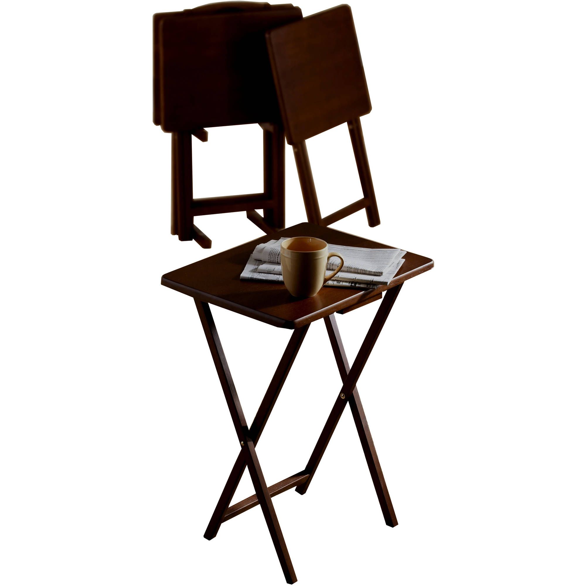Mainstays 5pc Tray Table, Walnut