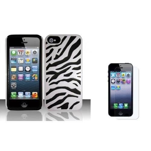 Insten Fusion Zebra Hard Hybrid Plastic Silicone Case + Screen Protector For Apple iPhone SE 5/5S - Black/White