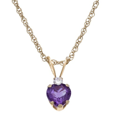 0.4 Carat T.G.W. Amethyst and CZ 10kt Yellow Gold Pendant, 18""
