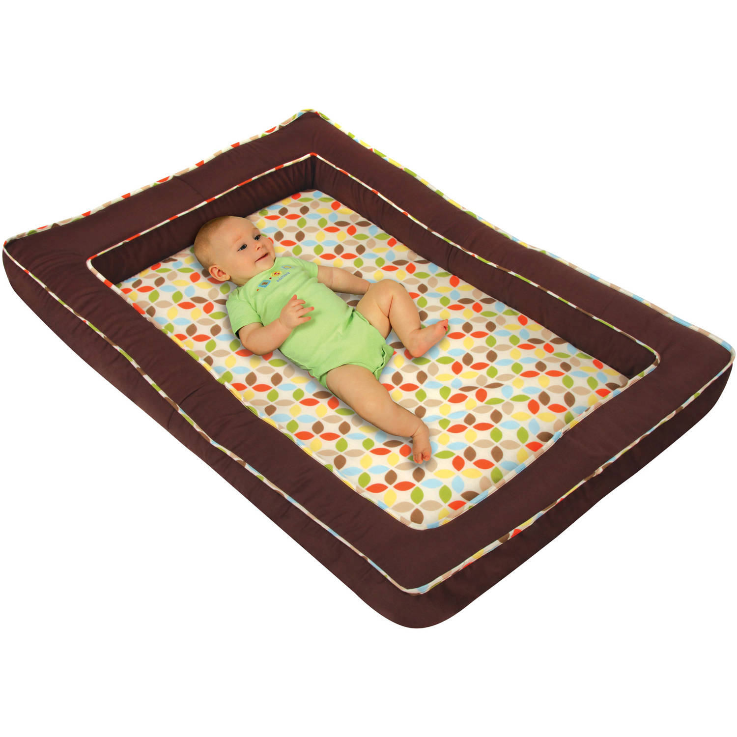 Leachco Mozy Mini Travel Bed, Brown Twill and Leaf Cluster Multi