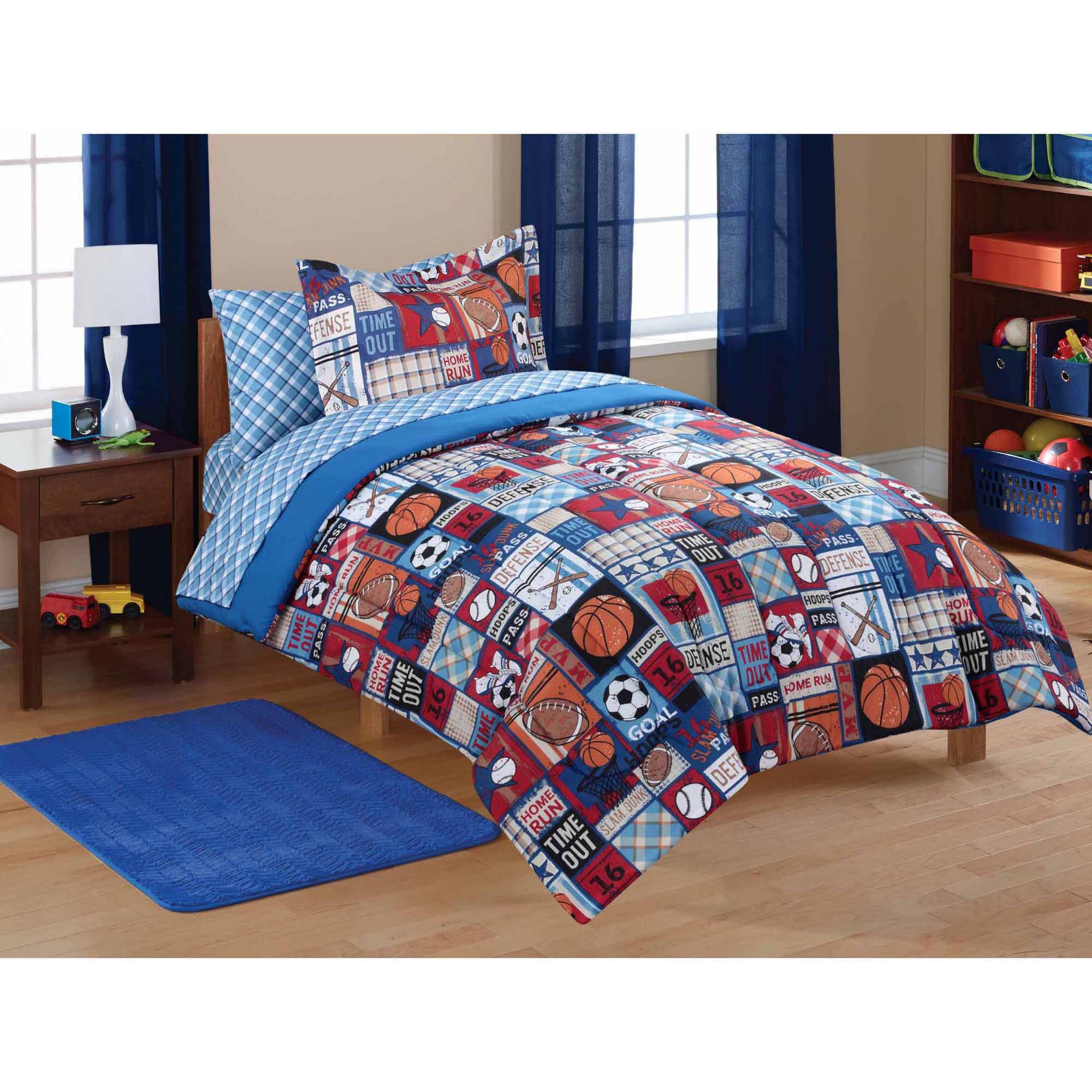 Mainstays Kids' Sports Patch Coordinated Bed in a Bag