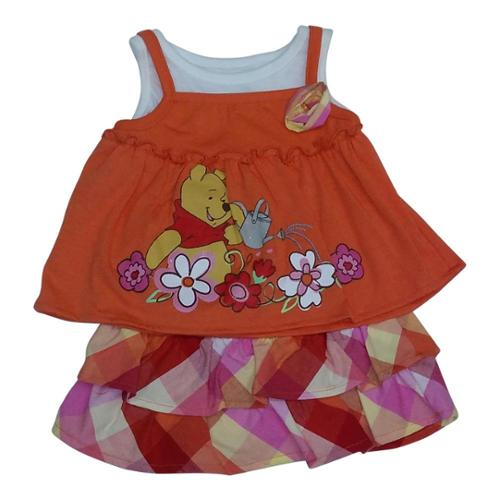 American Character Baby Girls Orange Winnie The Pooh Checker Skirt Set 18M