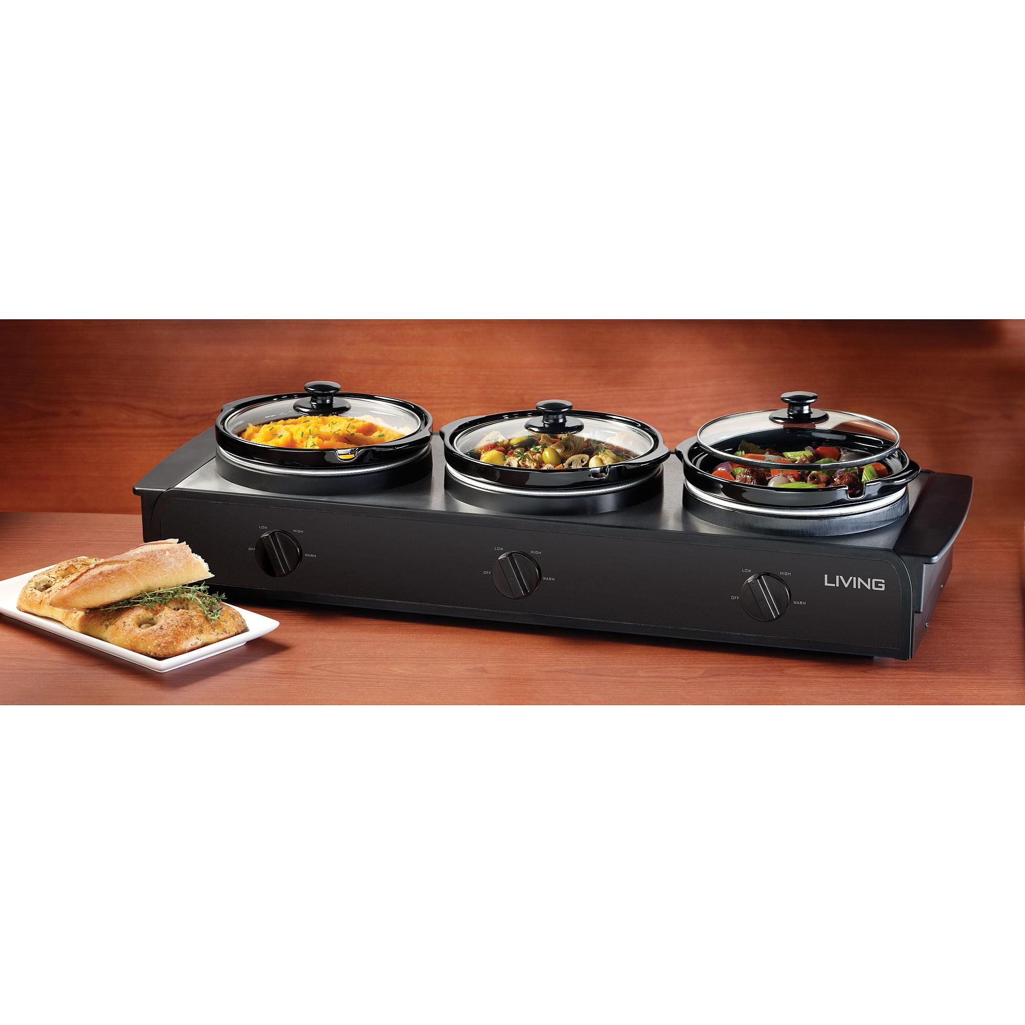 Nostalgia Electrics TSC-250BLK 2.5 qt. Triple Slow Cooker