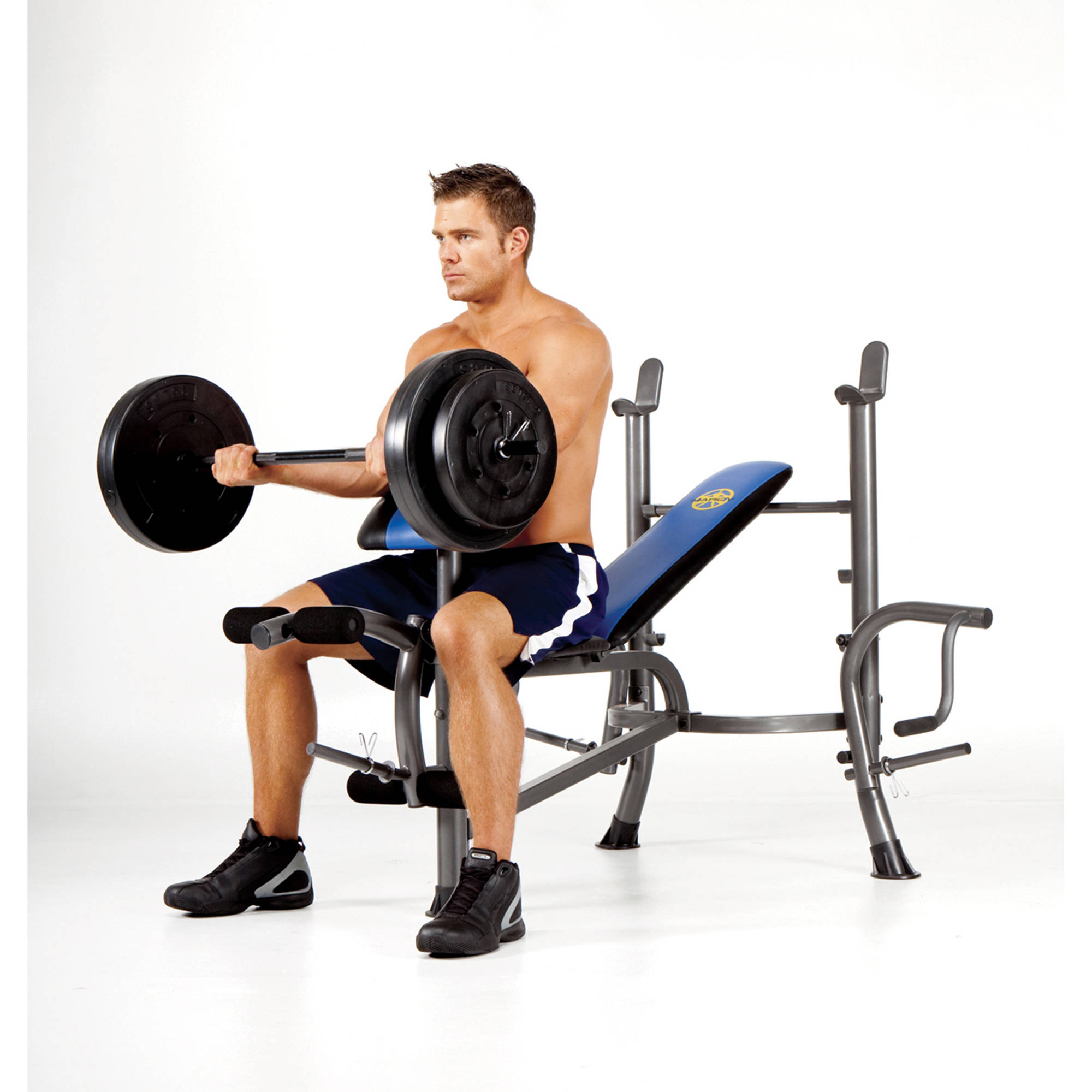 Marcy Standard Bench w/ 80lb Weight Set: MWB-36780B