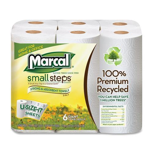 6181CT Marcal Small Steps Recycled U-Size-It Roll Paper Towels - 2 Ply - 140 Sheets/Roll - 24 / Carton - White