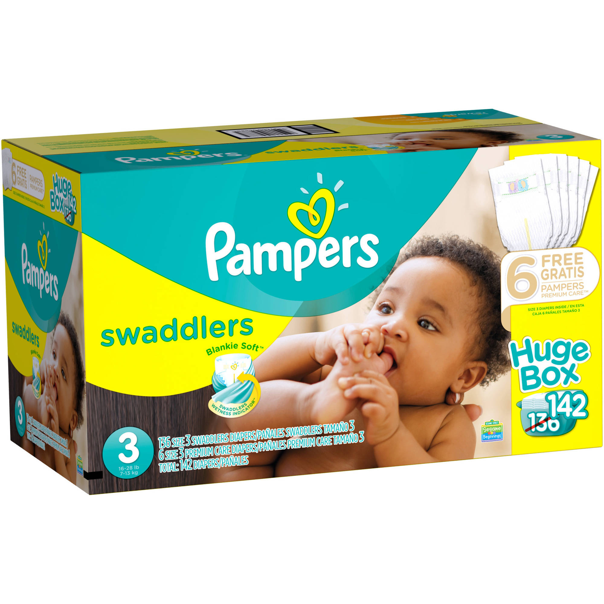 Pampers Swaddlers Diapers, Size 3 (Choose Diaper Count)