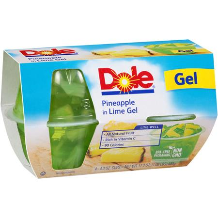 Dole Fruit Bowls In Lime Gel 4.3 oz Cup Pineapple, 4 pk