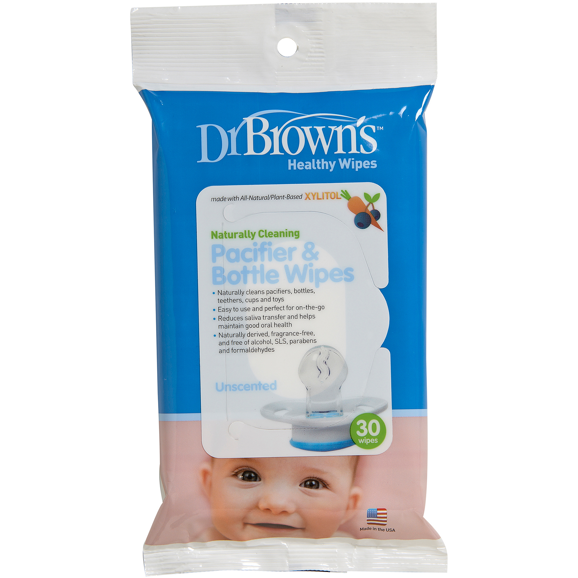 Dr. Brown's Pacifier and Bottle Wipes, 30-Pack