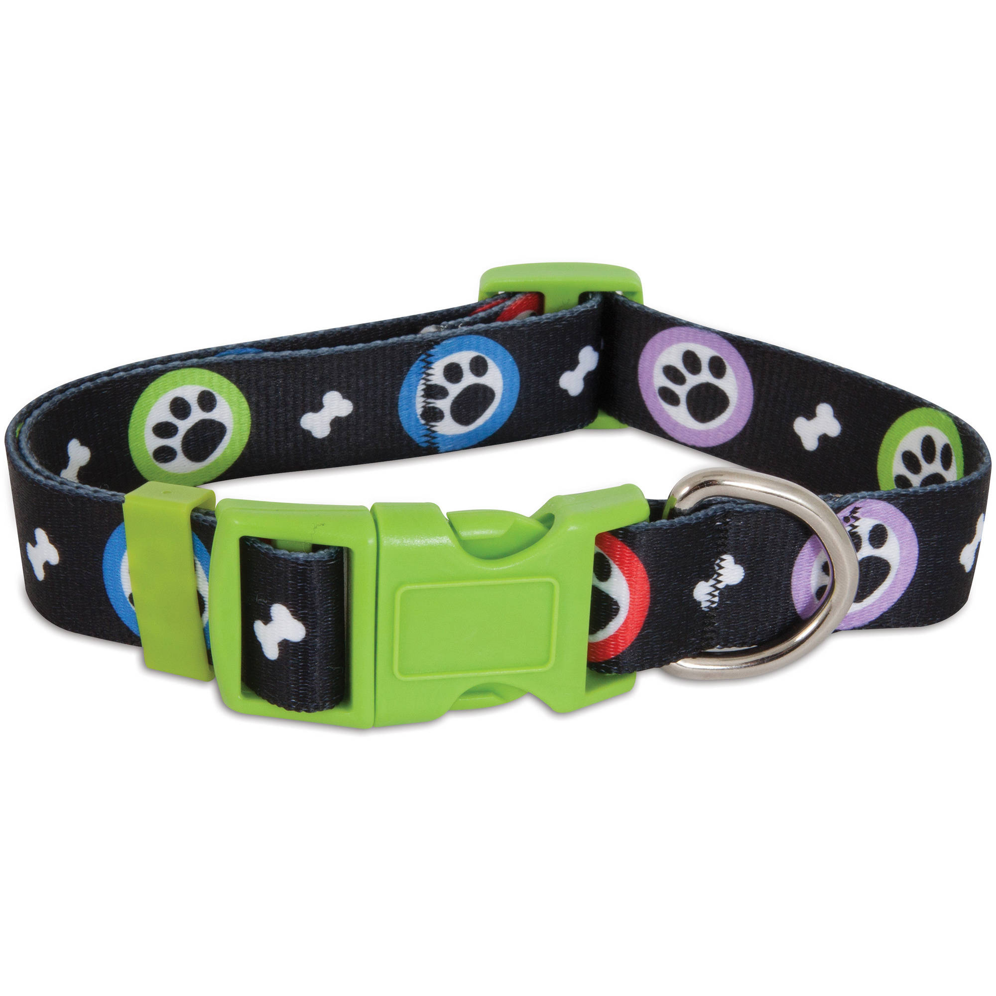Aspen Pet Adjustable Dog Collar Paws Print, (Large)