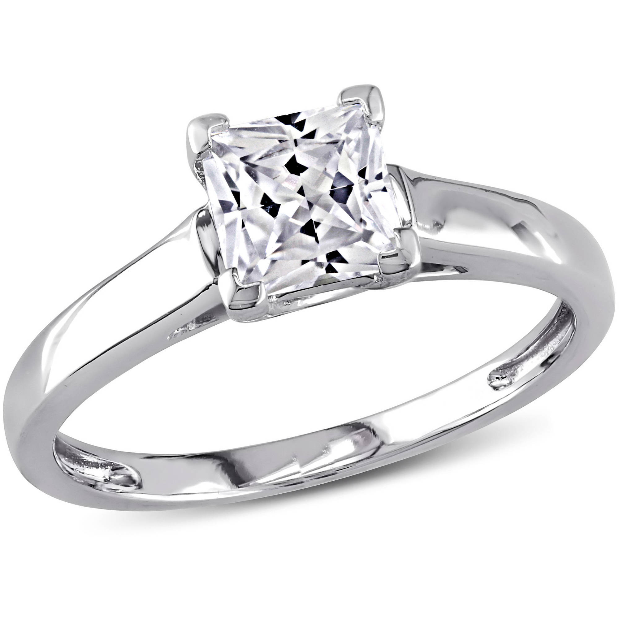 Miabella 1 Carat T.G.W. Princess-Cut Created White Sapphire 10kt White Gold Solitaire Engagement Ring