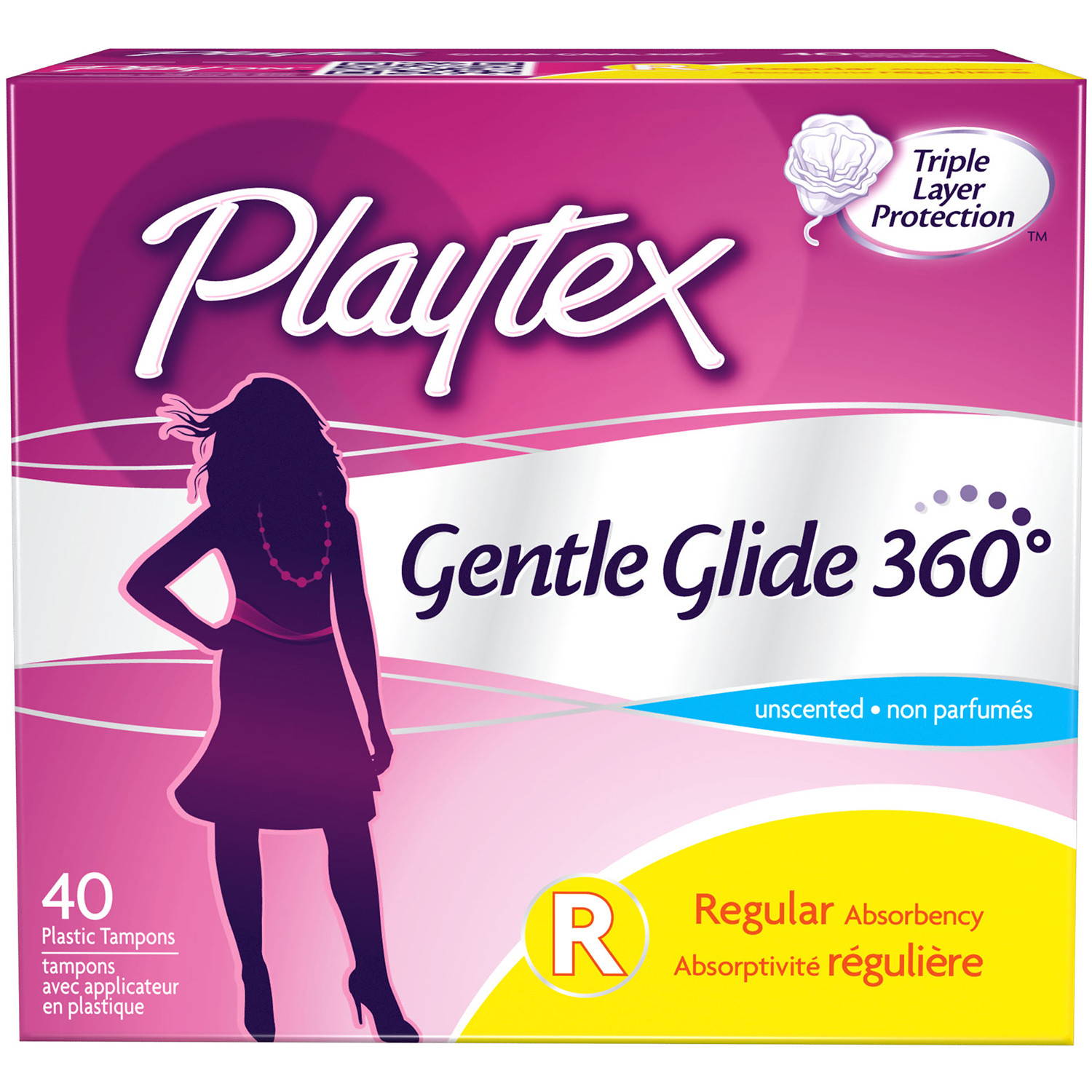 Playtex Gentle Glide Tampons Unscented Regular Absorbency - 40 Count