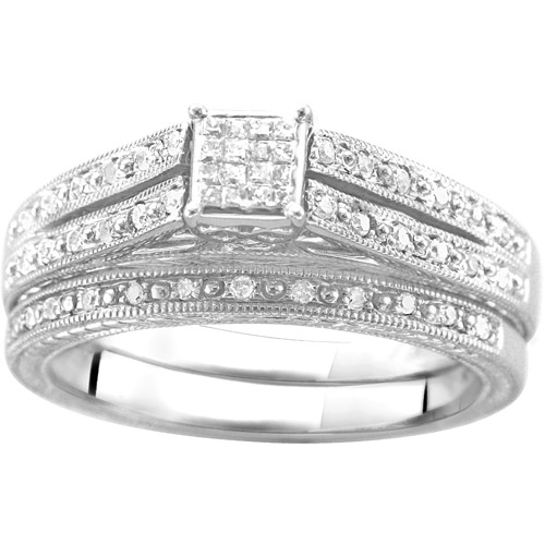 1/4 Carat T.W. Square-Shaped Diamond Princess Bridal Set in Argentium Silver
