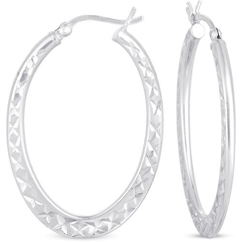 "Sterling Silver Diamond-Cut 1 1/2"" Oval Hoop Earrings"