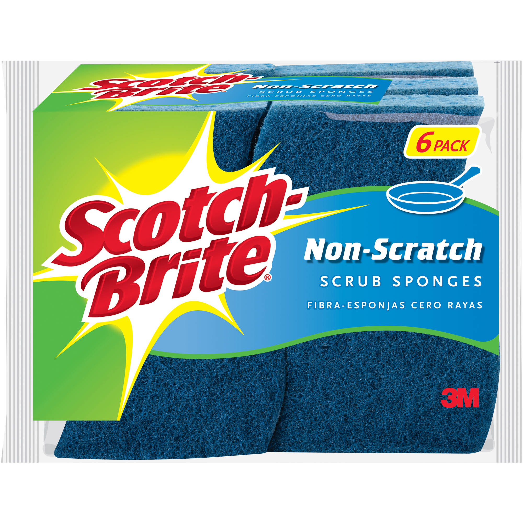 Scotch-Brite No Scratch Multi-Purpose Scrub Sponges, 6 pack