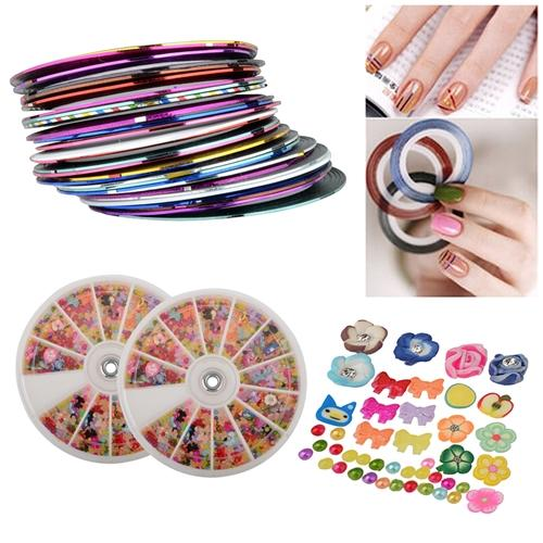 Zodaca 30x Striping Tape Line Nail Art Decoration Sticker + 2x Wheel Mixed Nail Art Tips