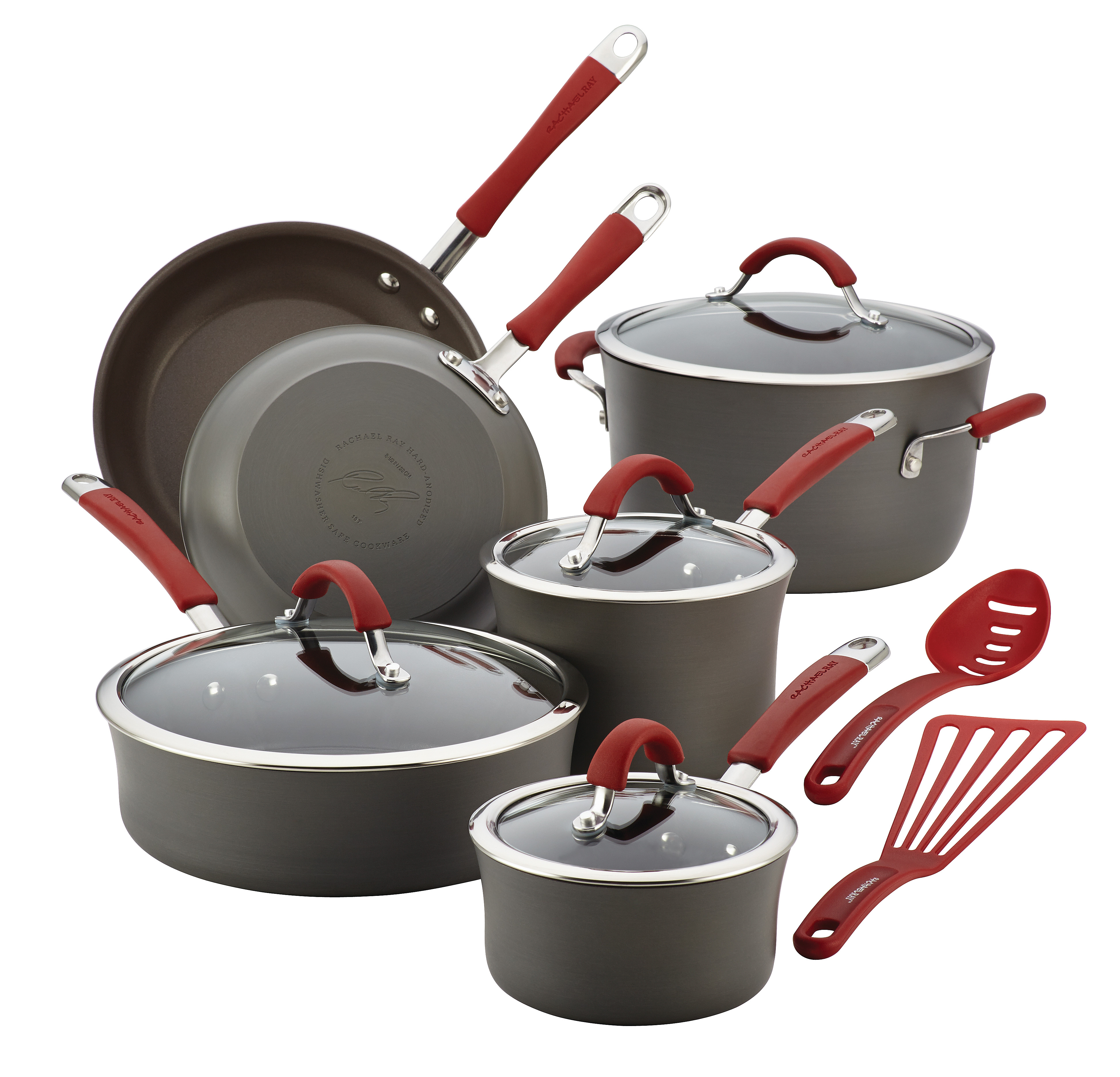Rachael Ray(r) Cucina Hard-Anodized Aluminum Nonstick Cookware Set, 12-Piece, Gray, Cranberry Red Handles