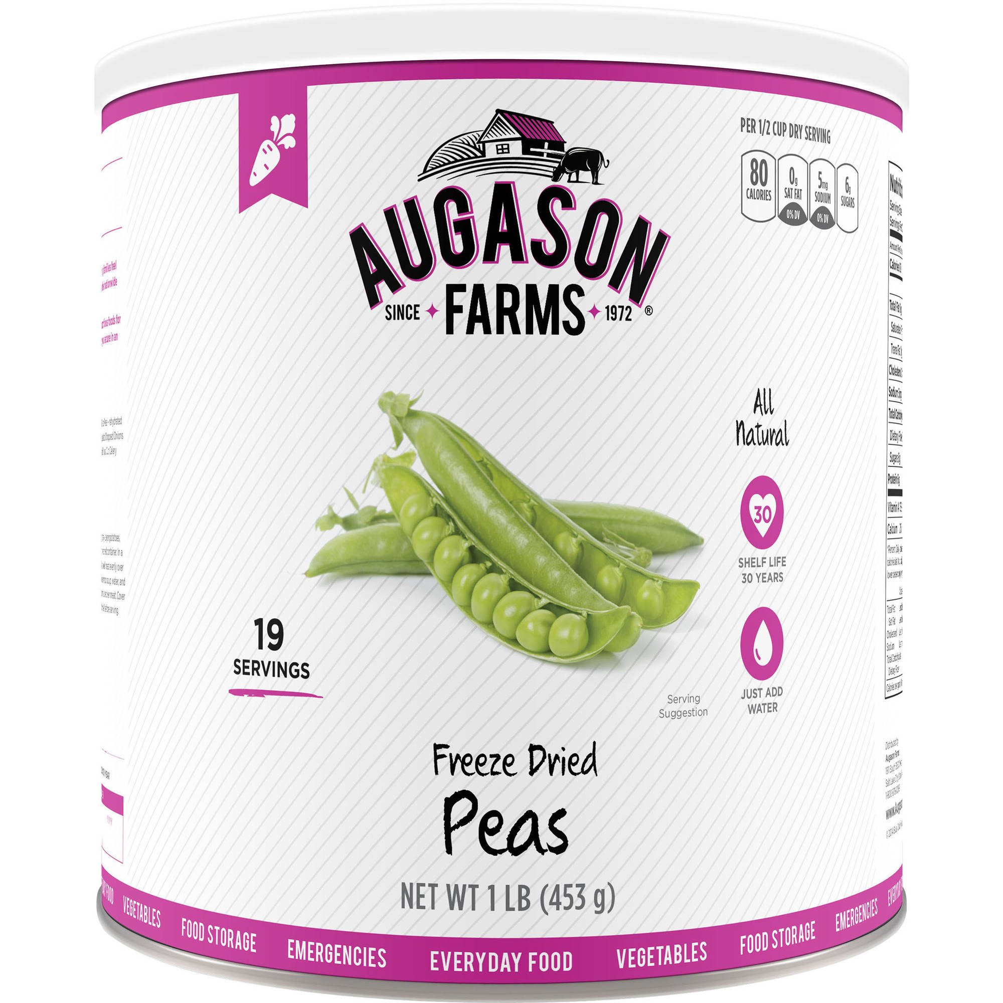 Augason Farms Emergency Food Freeze-Dried Peas, 16 oz