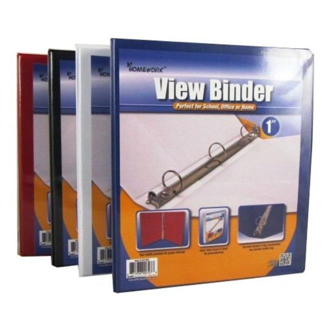 DDI 934185 Binder - View pocket - 3 - 1 inch rings - Asst.  Colors Case Of 48