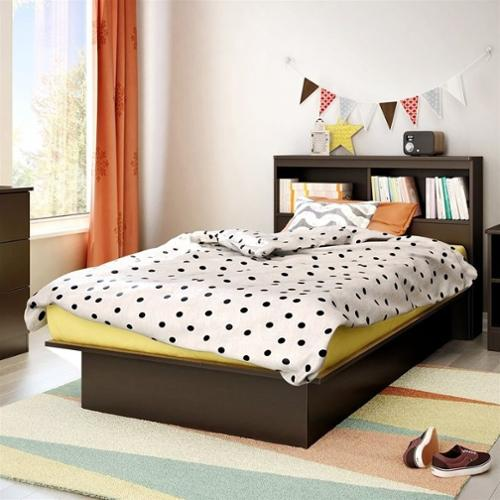 South Shore Libra Twin Bookcase Platform Bed in Chocolate