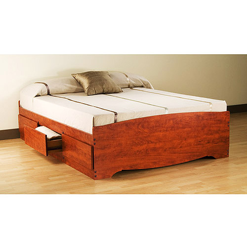 Prepac Edenvale Queen Platform Storage Bed, Cherry