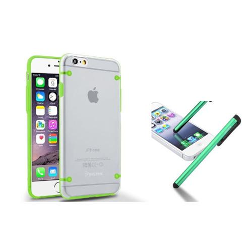 Insten Green Hybrid TPU Bumper Hard Back Case Cover+Clip Stylus For iPhone 6S 6