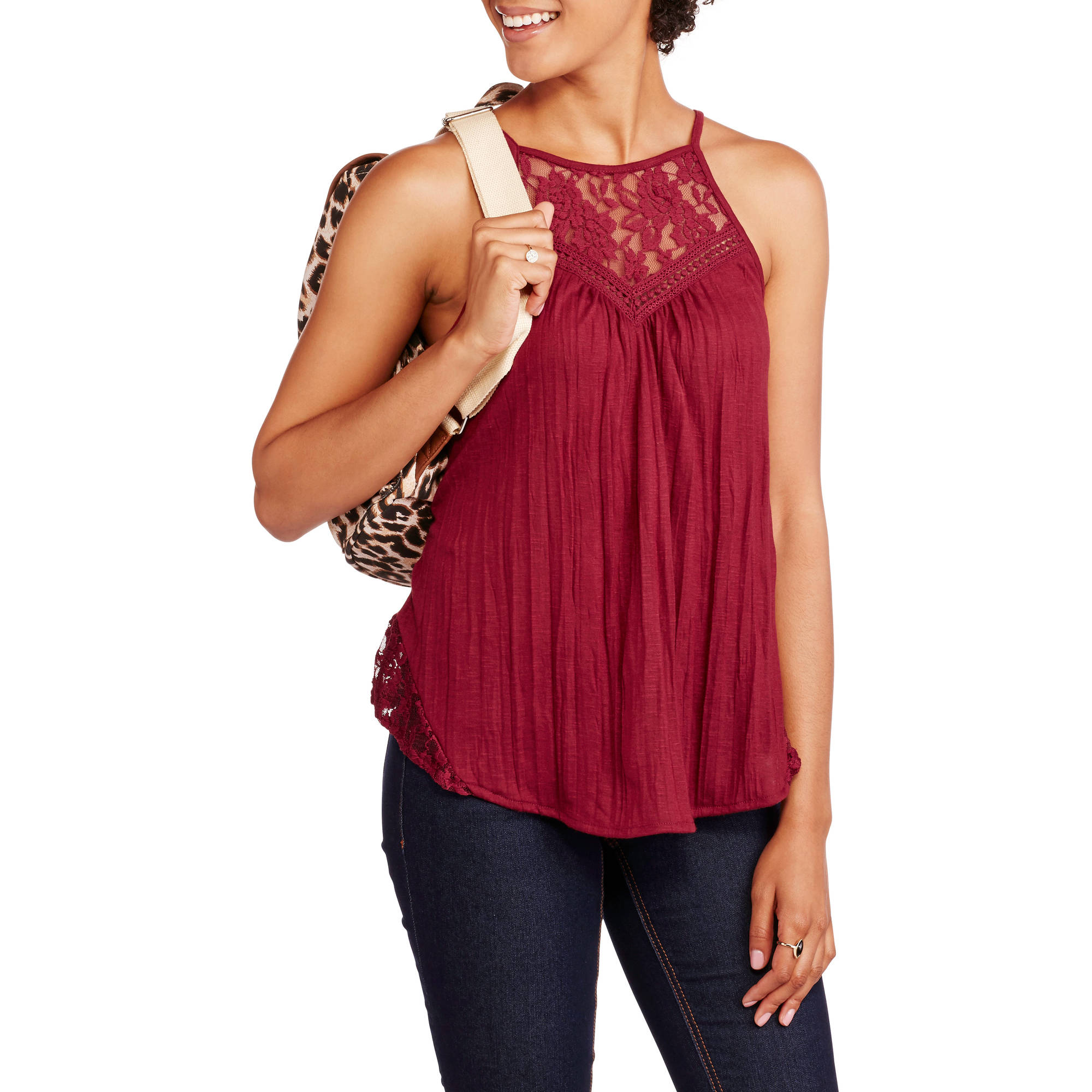 No Boundaries Juniors' Lace Yoke Tank with Keyhole Back