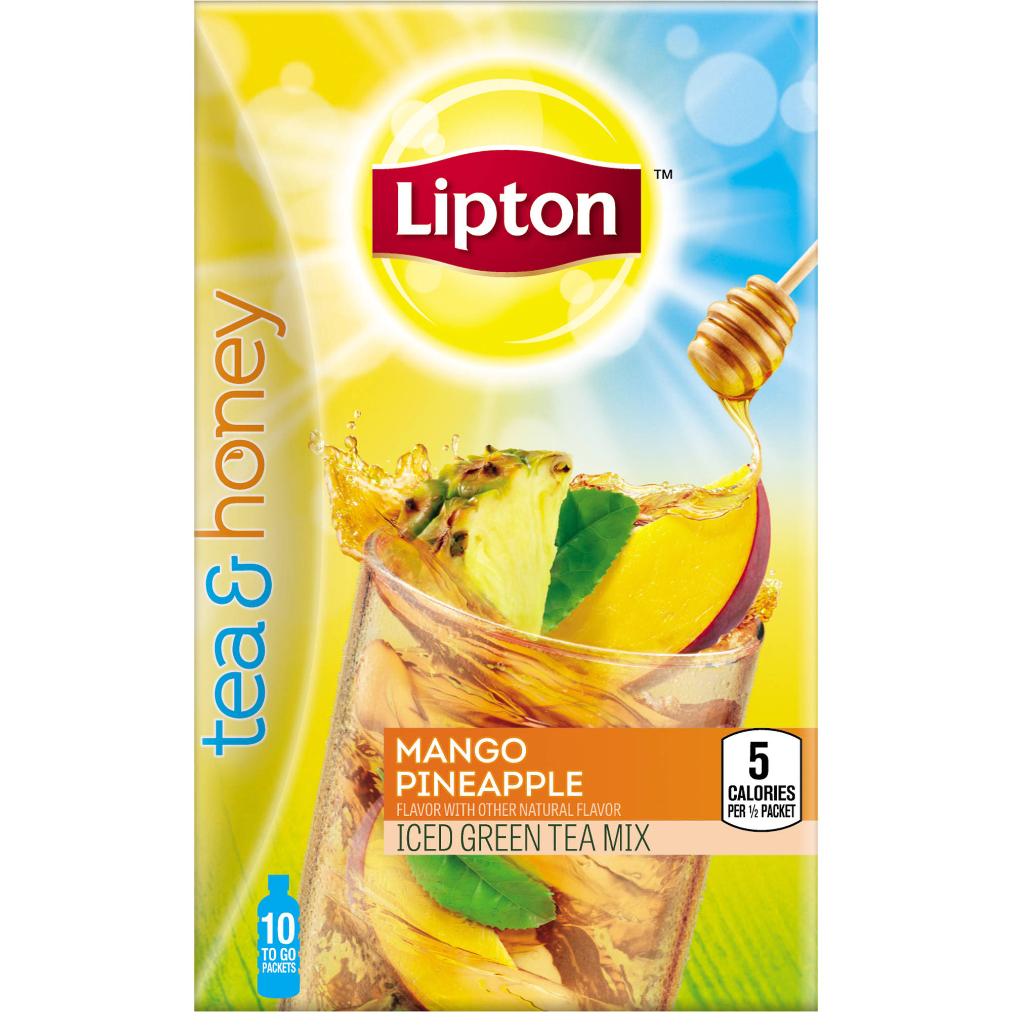 Lipton Tea and Honey Mango Pineapple Iced Green Tea To Go Packets, 10 ct