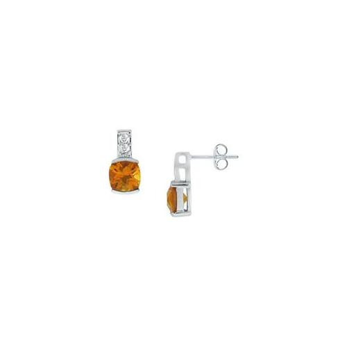 FineJewelryVault UBIC574C-107 Citrine and Diamond Earrings : 14K White Gold - 1. 50 CT TGW