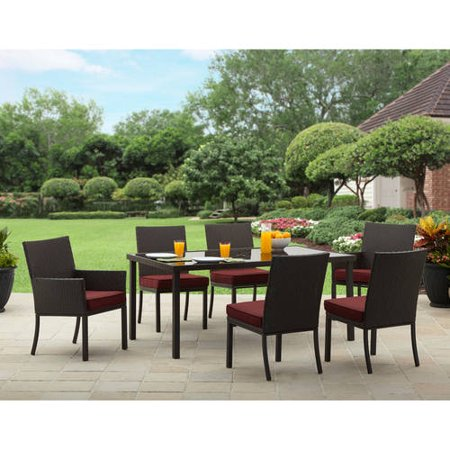 Better homes and gardens rush valley 7 piece patio dining for Jardin 8 piece dining set
