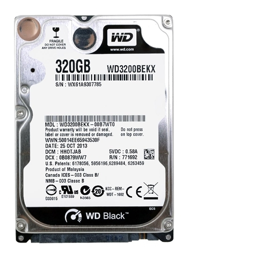 "Western Digital WD Black 320 GB 2.5"" Internal Bare Hard Drive - Single WD3200BEKX"