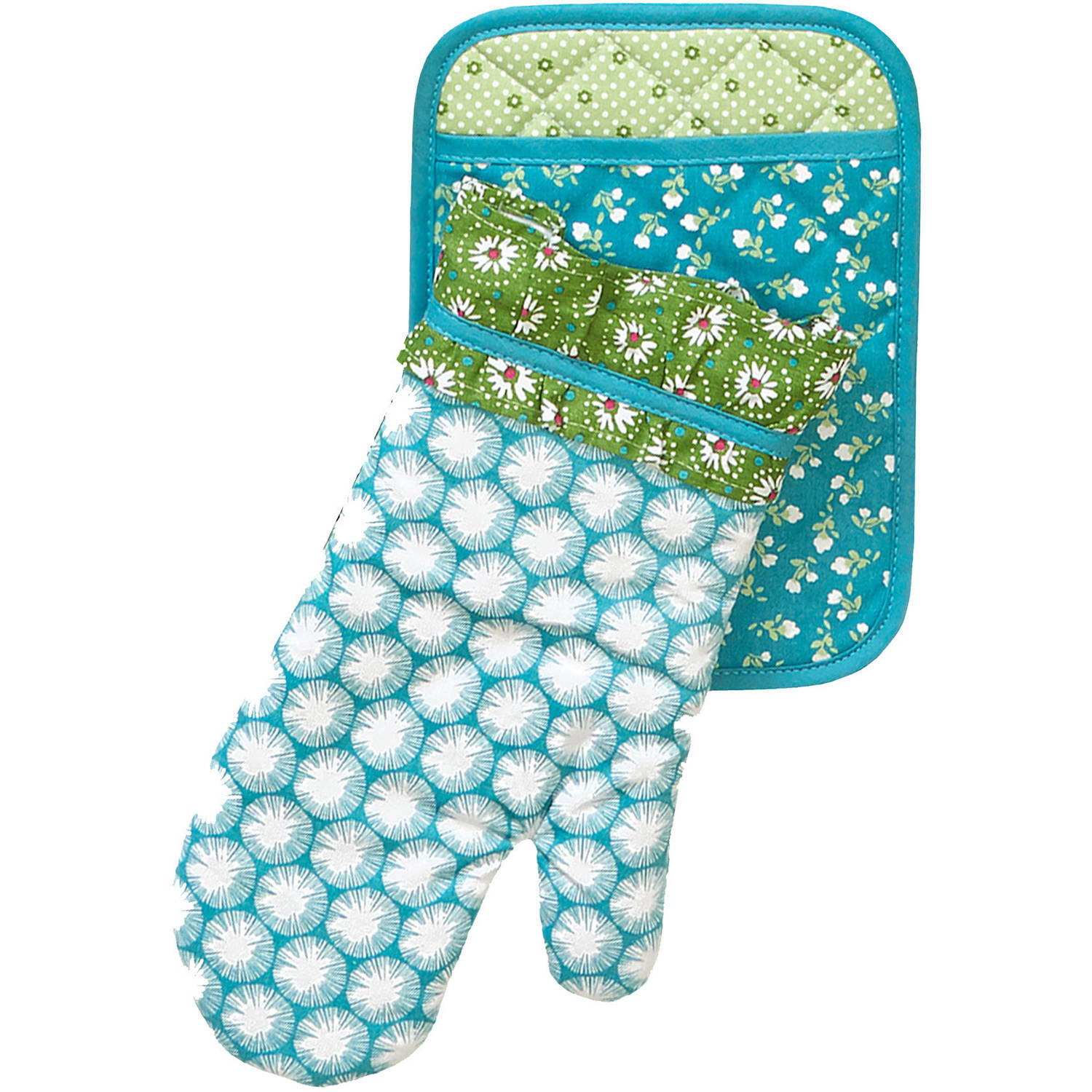 The Pioneer Woman Dandelion Pot Holder/Oven Mitt Set