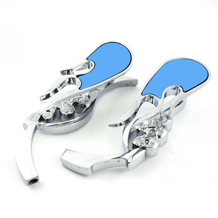 Pair Silver Tone Metal Frame Skull Detailing Motorcycle Rear View Mirrors - image 3 of 3