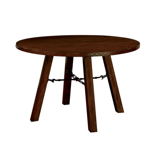 Furniture of America Hockenberry Round Dining Table with Metal Hardware