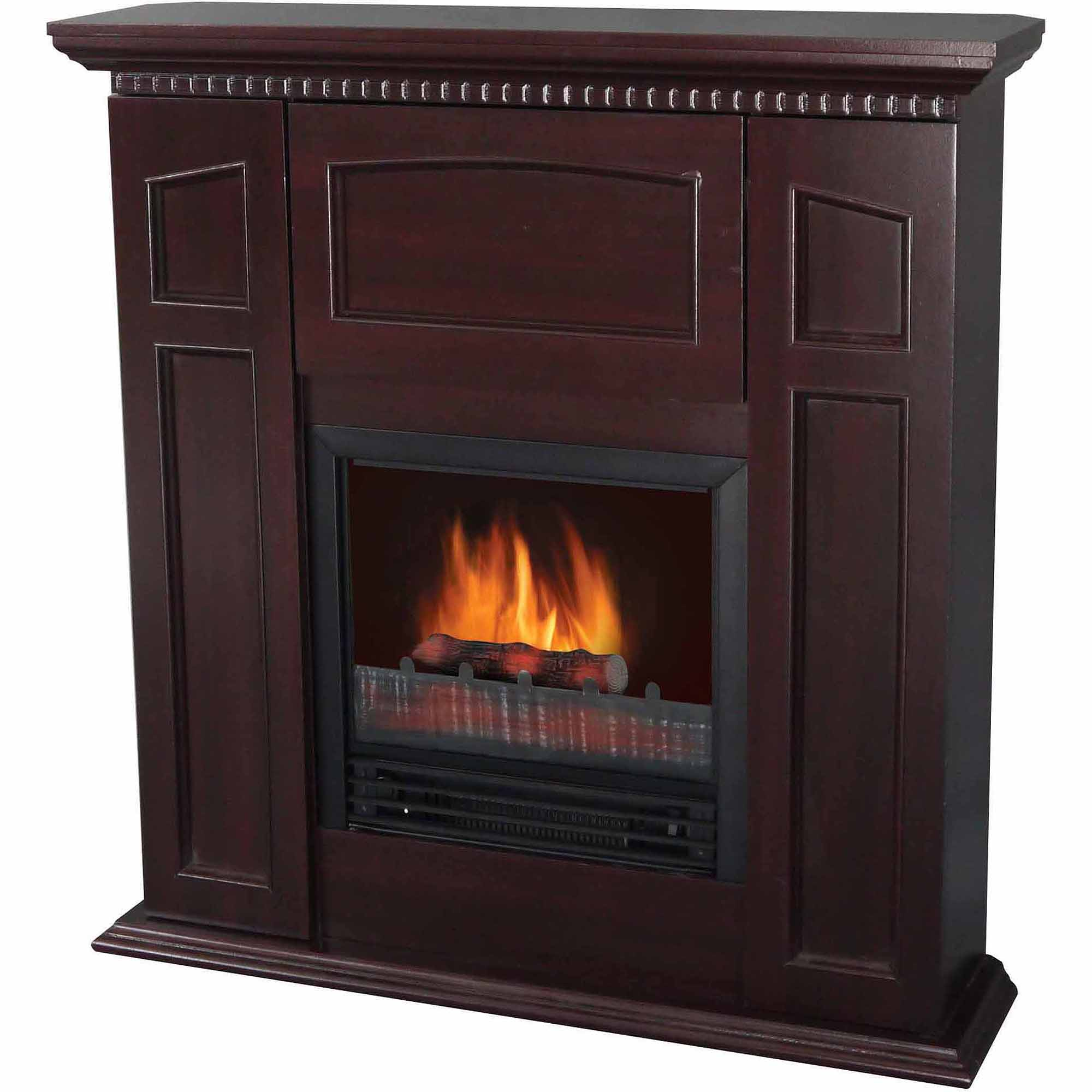"Electric Fireplace with 36"" Mantle and Storage, Chestnut"