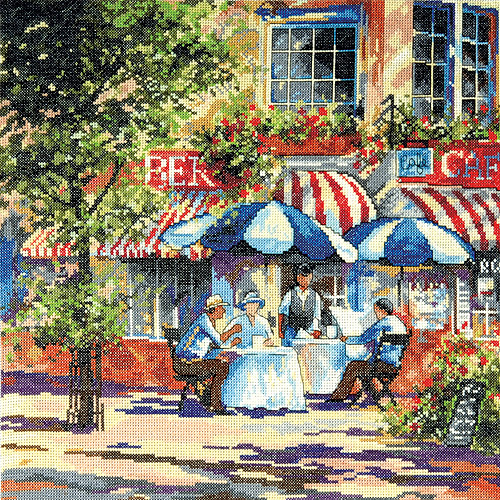 "Cafe In The Sun Counted Cross Stitch Kit, 14"" x 14"", 14-count"