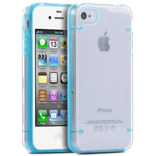 ULAK iPhone 4 4S Case, Bumber Clear Case Cover with Clear Crystal Transparent Hard Rubber Clear Back Panel for iPhone 4 4S (Blue)