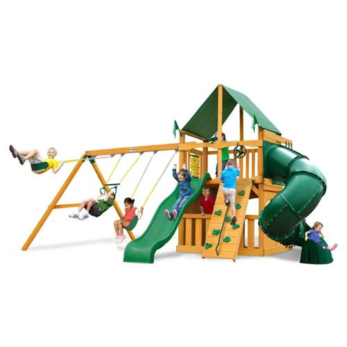 Gorilla Playsets Mountaineer Clubhouse Swing Set with Amber Posts and Deluxe Green Vinyl Canopy