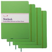 Paper Craft (4 Pack) 8.5 x 5.5 Leatherette Lined Writing Journals Wide Ruled Banded Notebook With Ribbon Bookmark