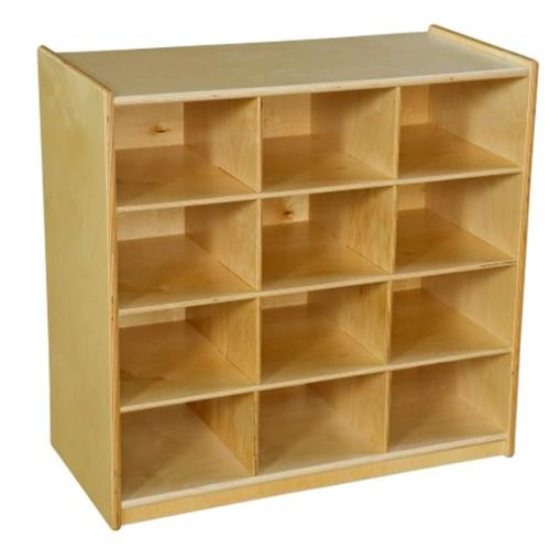 Wood Designs 16129OR 12 Cubby Storage With Orange Trays