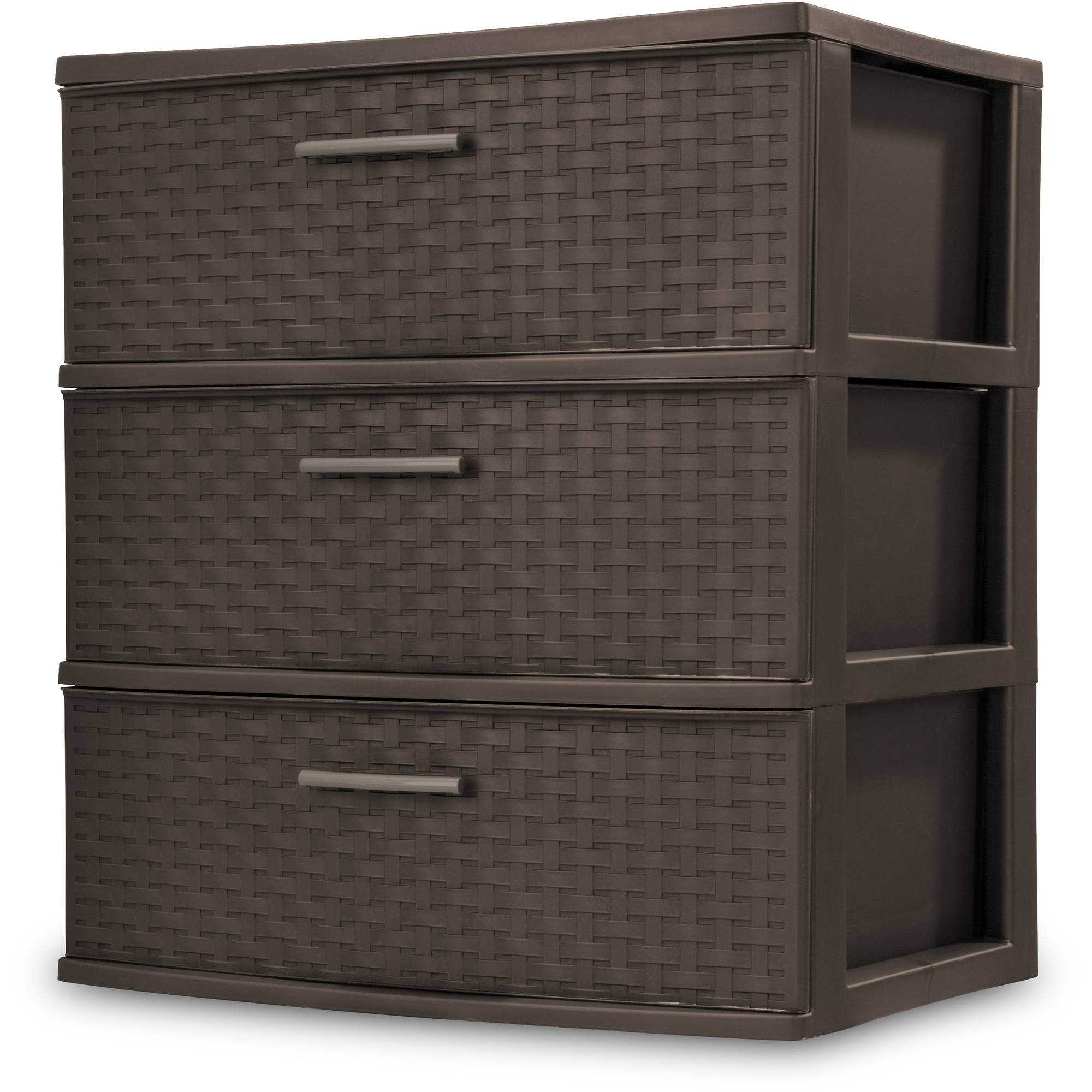 Sterilite 3-Drawer Wide Weave Tower, Espresso
