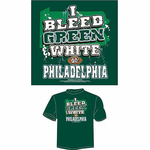 "Philadelphia Football ""I Bleed Green and White, Go Philadelphia"" T-Shirt, Green"