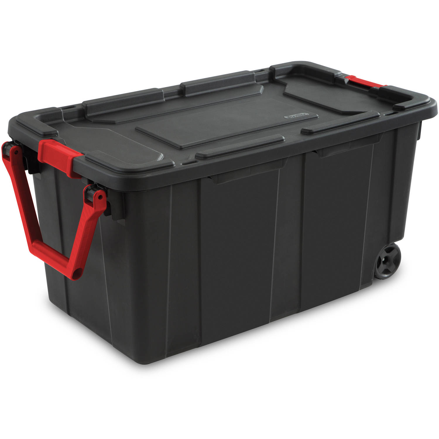 Sterilite 40 Gallon Wheeled Industrial Tote- Black, Case of 2