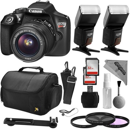 Canon EOS Rebel T6 Digital SLR Camera with EF-S 18-55mm f/3.5-5.6 IS II Lens + Two Flash Set + 64GB Memory + USB SD Card Reader + Padded Carrying Bag + UV CPL FLD Filter Kit + Cleaning Bundle