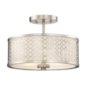 2-Light Brushed Nickel Semi-Flush Mount